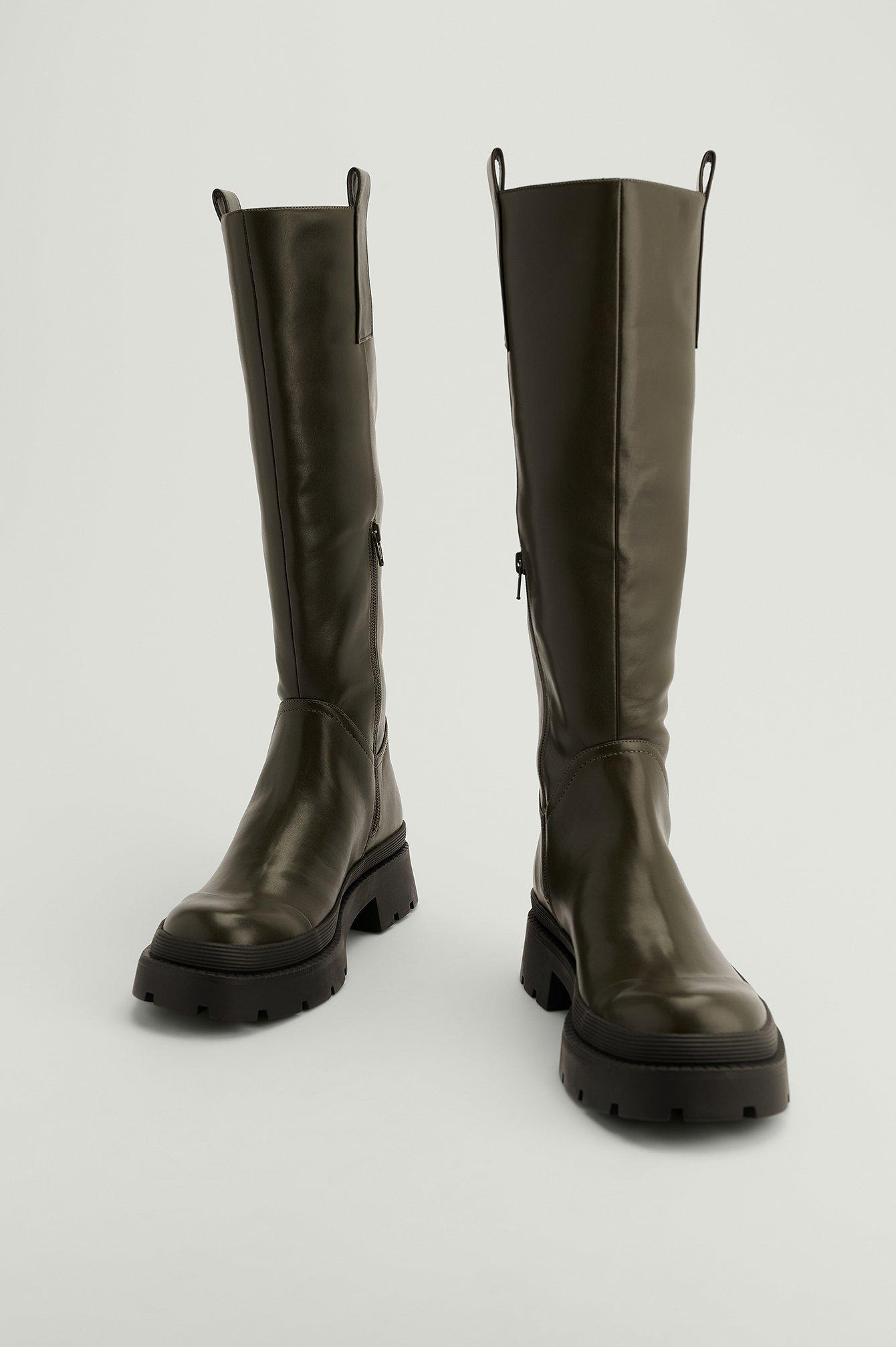 na-kd shoes -  Recycelte Schaft-Stiefel Mit Spitzen-Detail - Green