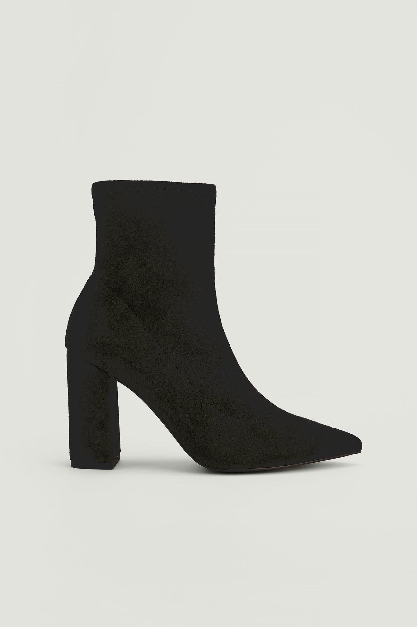 NA-KD Shoes Støvler I Genanvendt Materiale I Imiteret Ruskind Og Med Blokhæl - Black