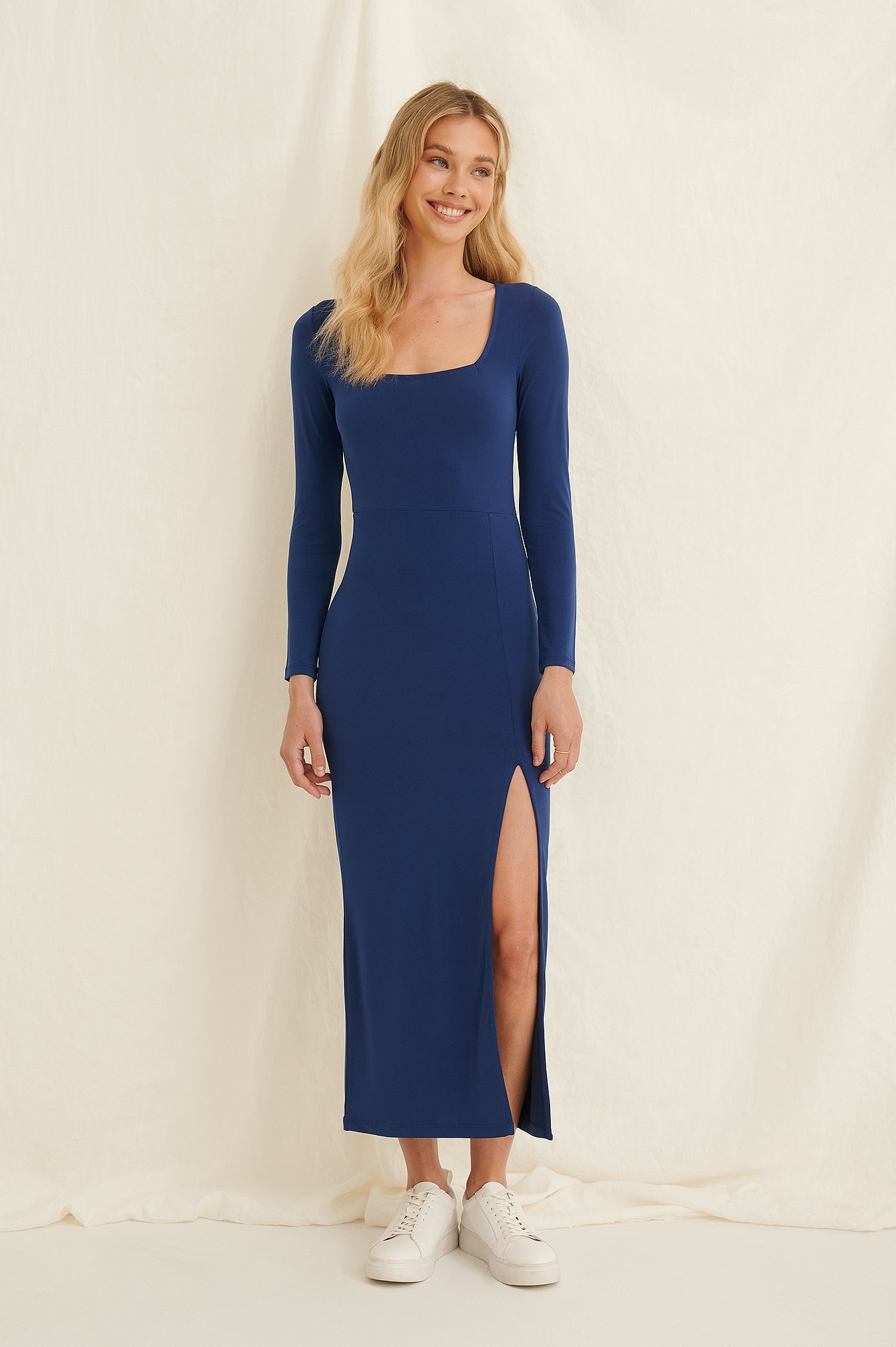 Blue High Slit Midi Dress