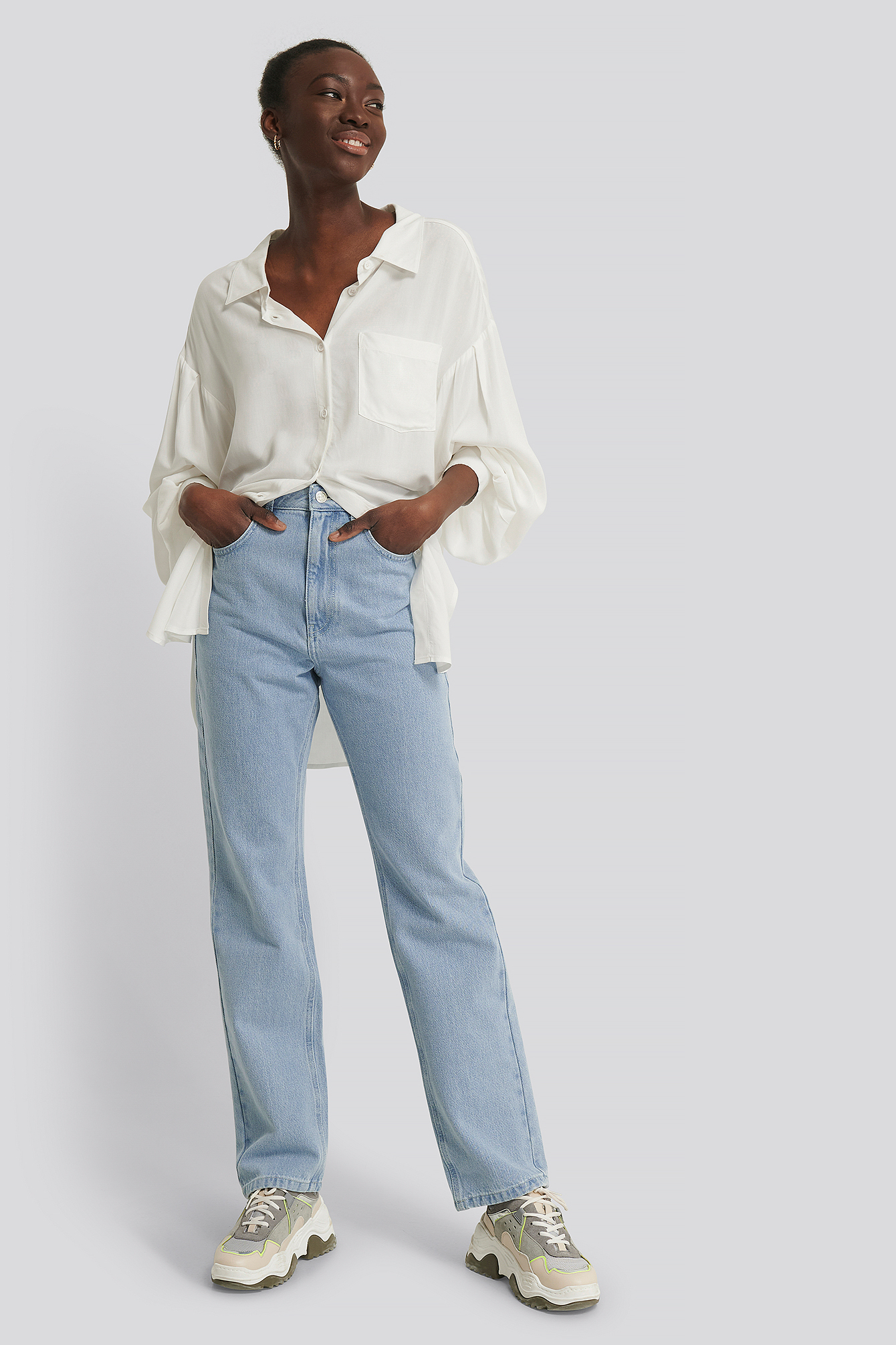 Na-kd Reborn Recycled Highwaist Straight Jeans - Blue In Light Blue