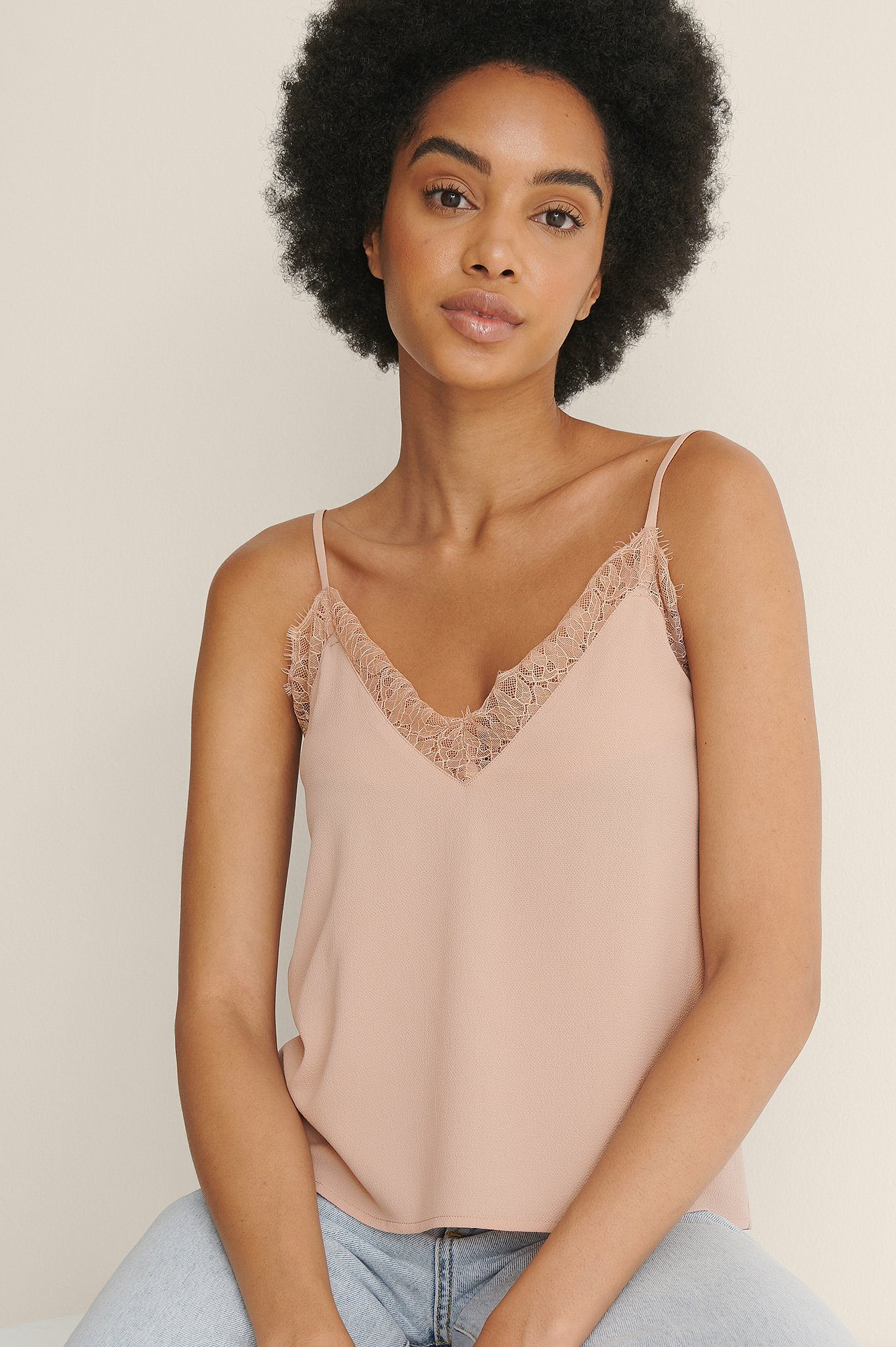 Na-kd Recycled Lace Detail Crepe Singlet - Pink