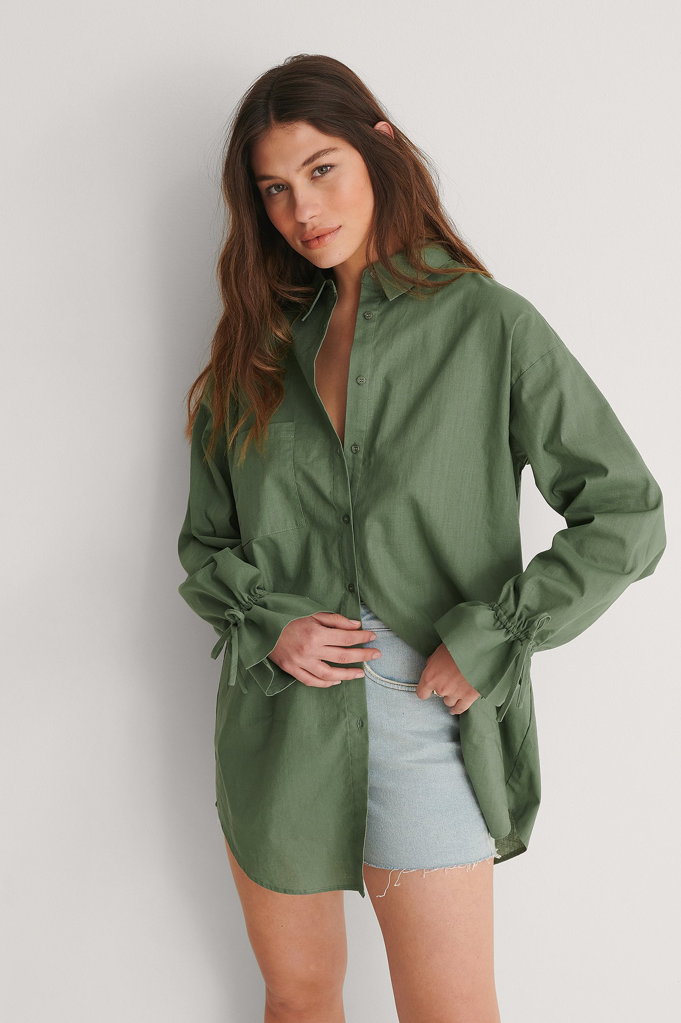 Green Recycled Oversize Skjorta