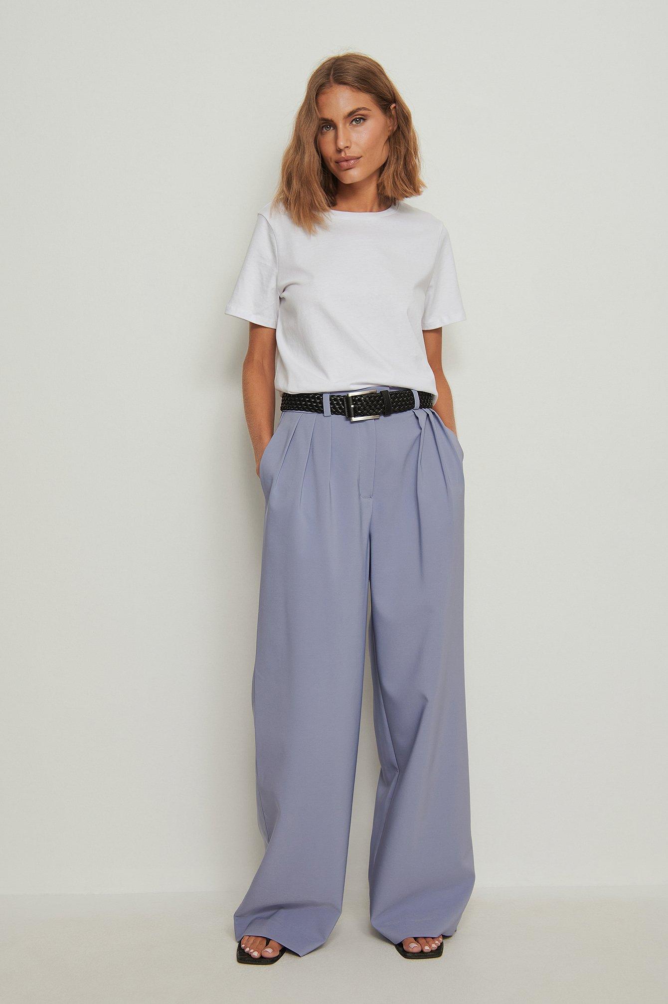 na-kd trend -  Recycelte Plissierte Anzughose Mit Weiten Beinen - Blue
