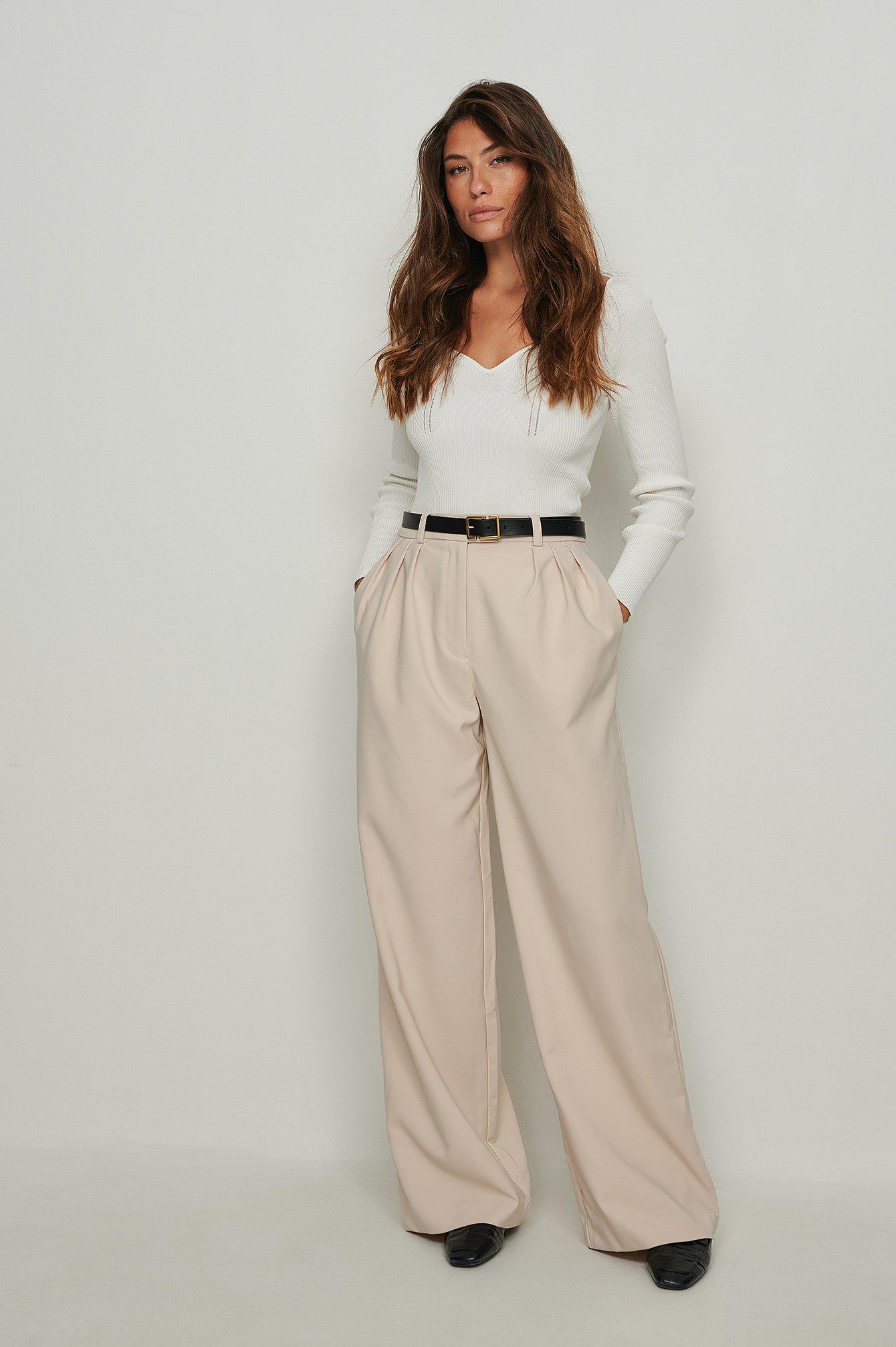 na-kd trend -  Recycelte Plissierte Anzughose Mit Weiten Beinen - Beige