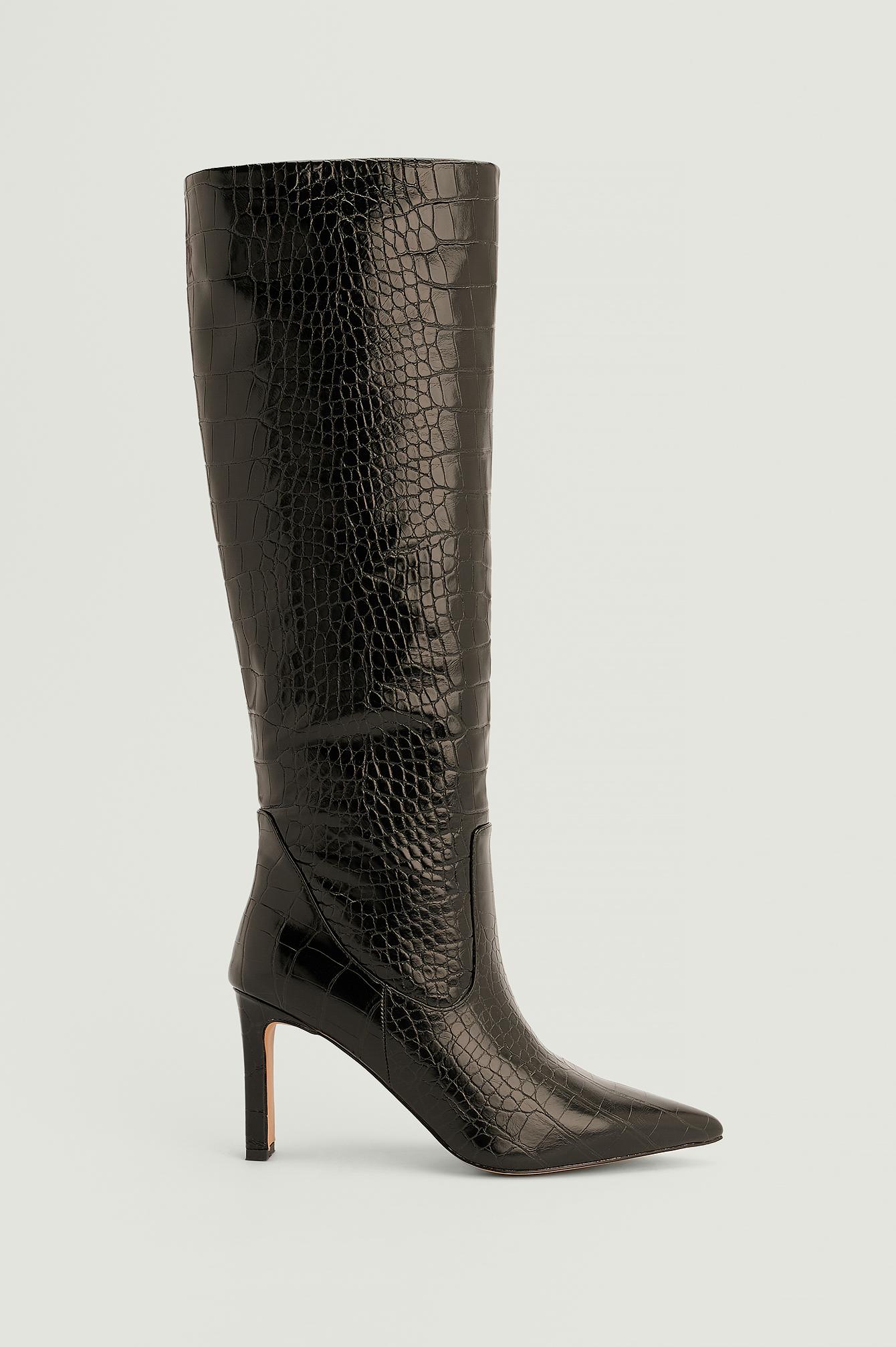 NA-KD Shoes Spidse støvler i genanvendt materiale med løst skaft - Black