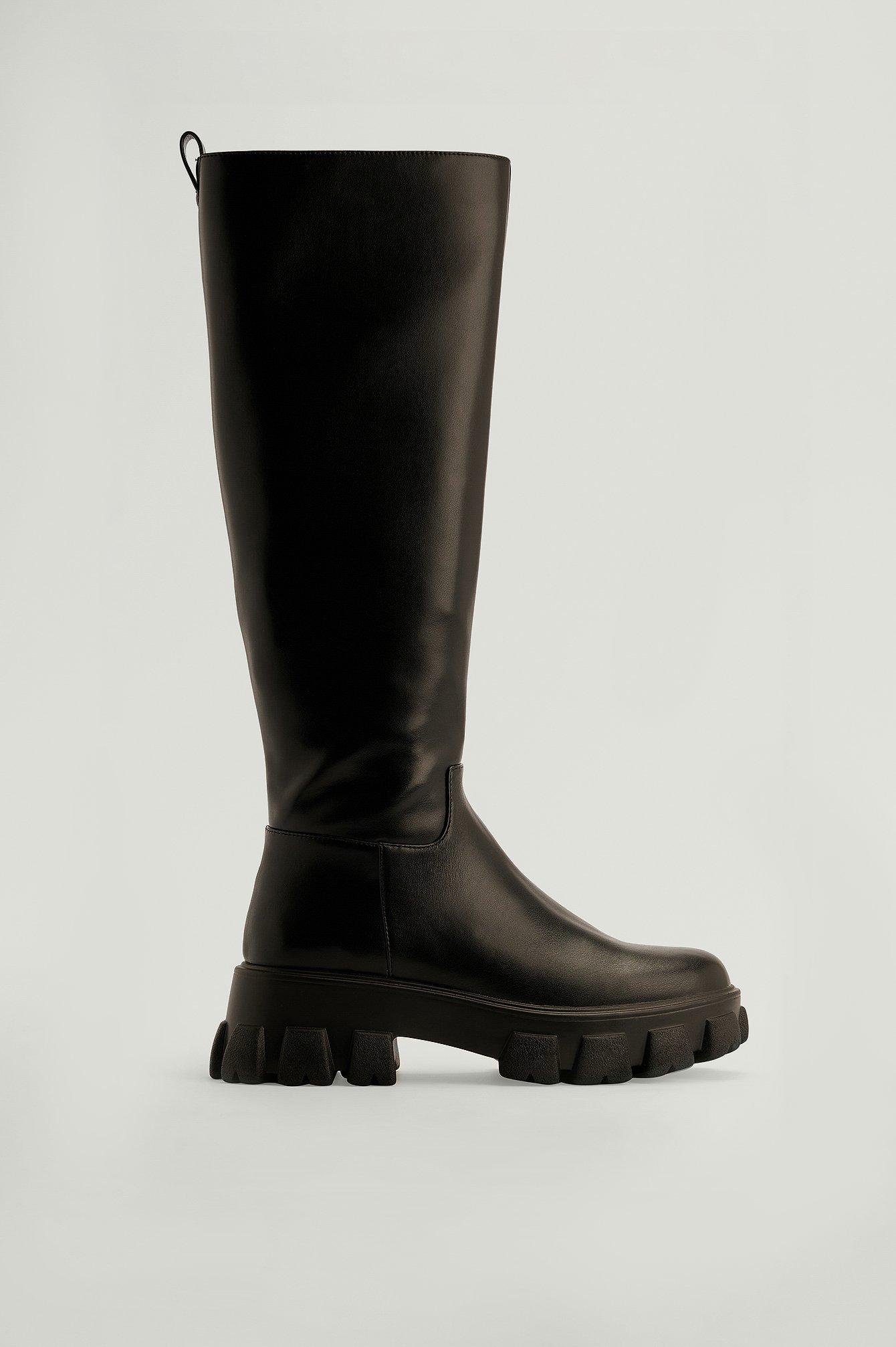 NA-KD Shoes Støvler I Genanvendt Materiale Med Profilsål Og Skaft - Black