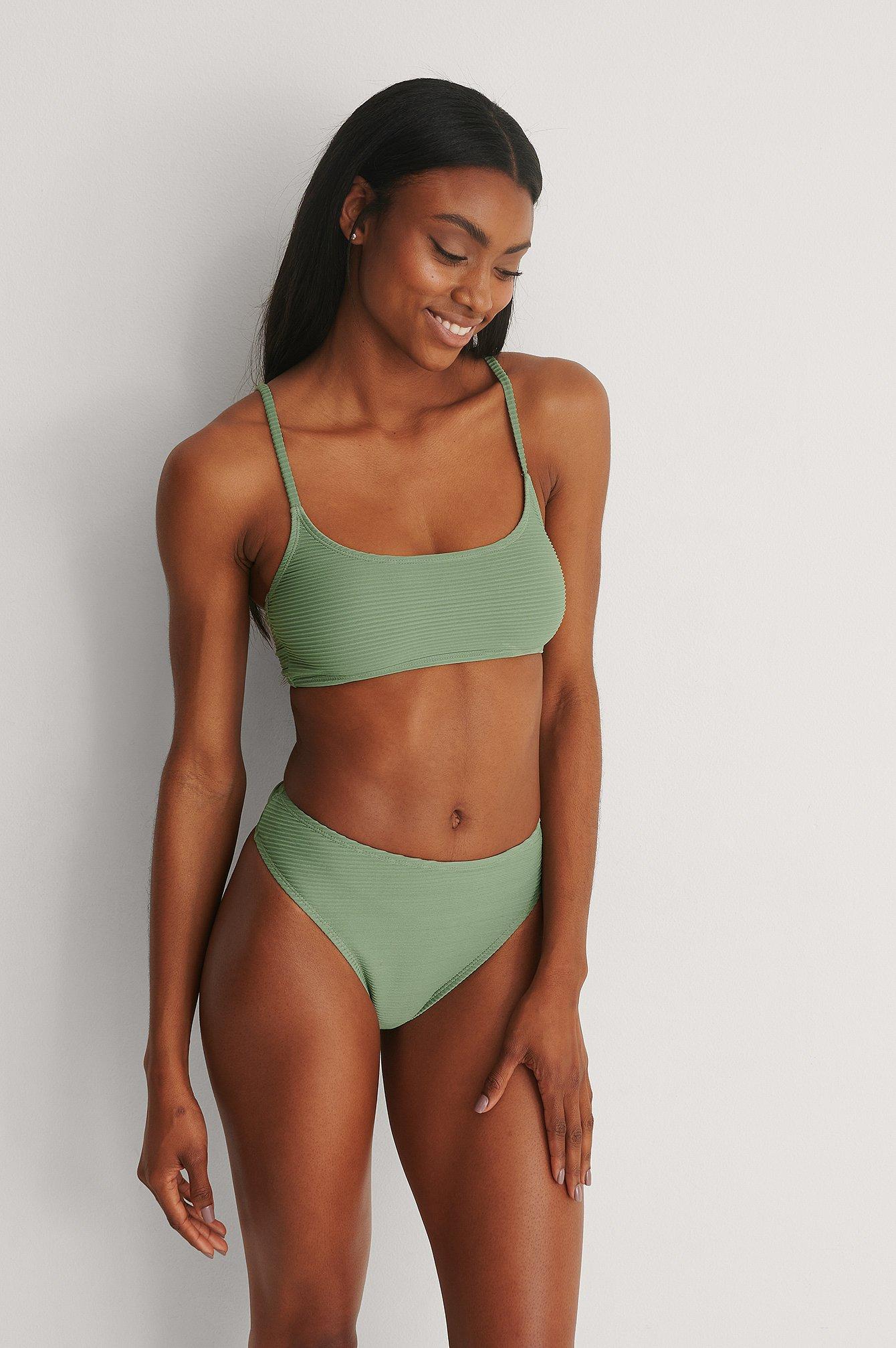 NA-KD Swimwear Genanvendt Højtaljet Bikiniunderdel - Green