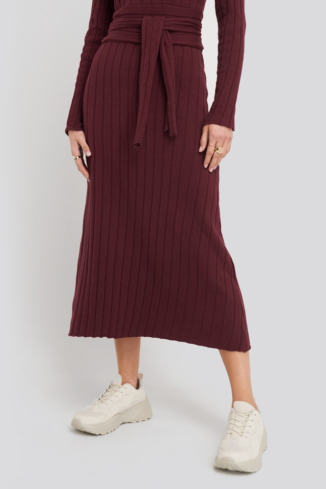 Recycled Ribbed Knit Midi Skirt Burgundy