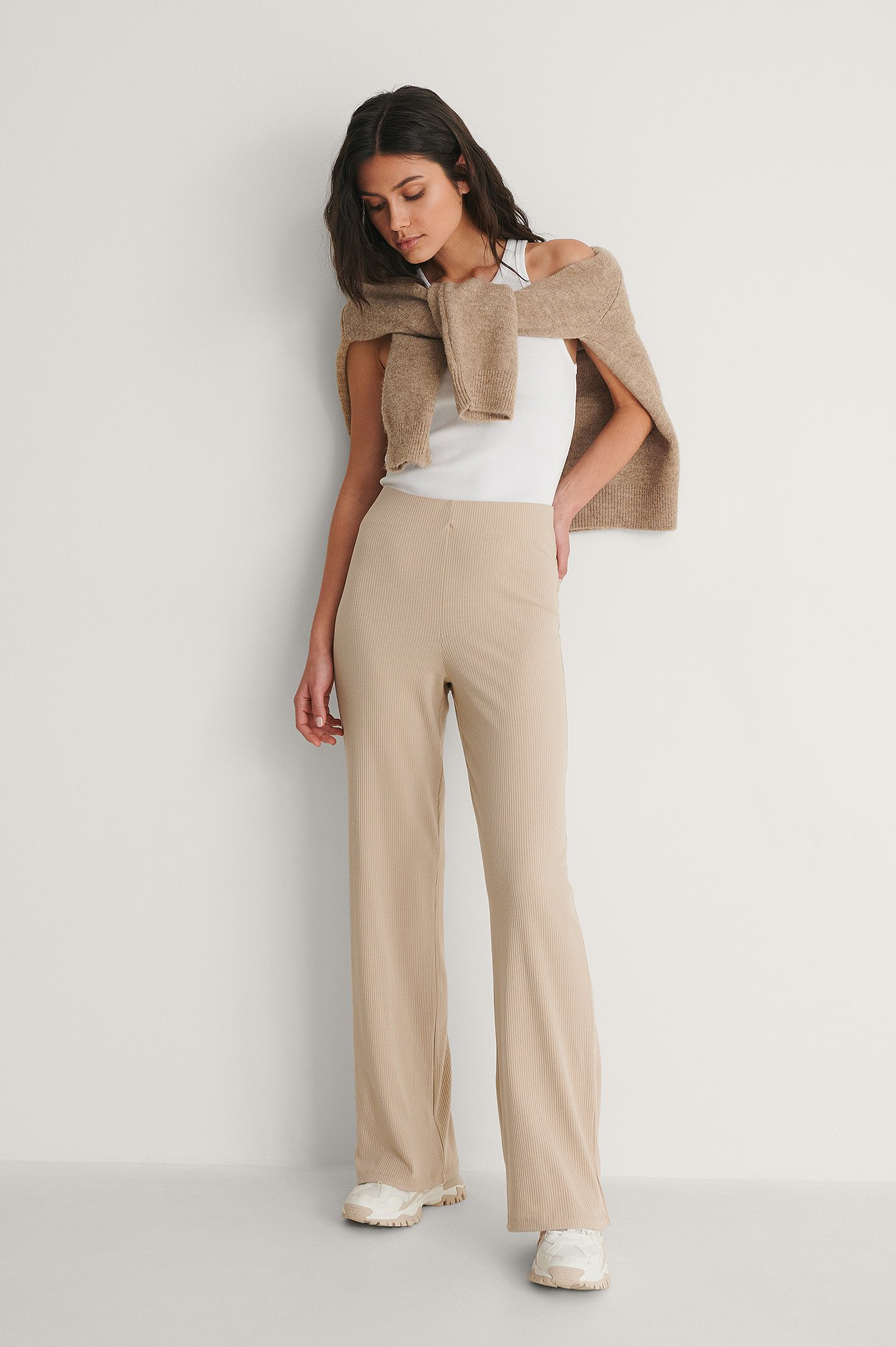 Beige Recycled Ribbed Wide Pants