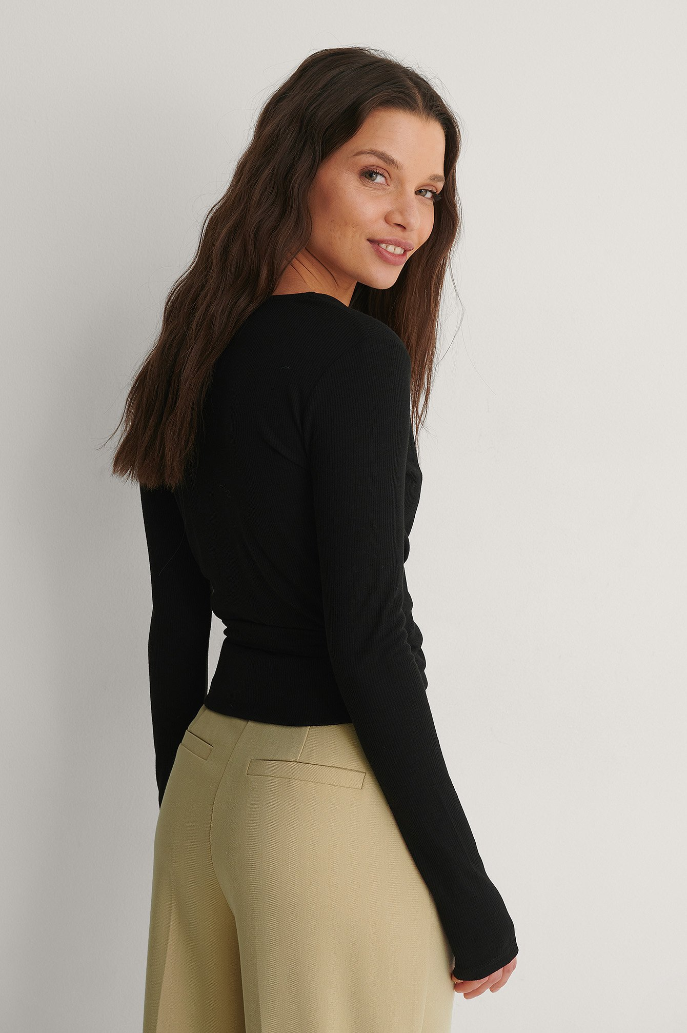 Black Recycled Ribbed Wrap Top