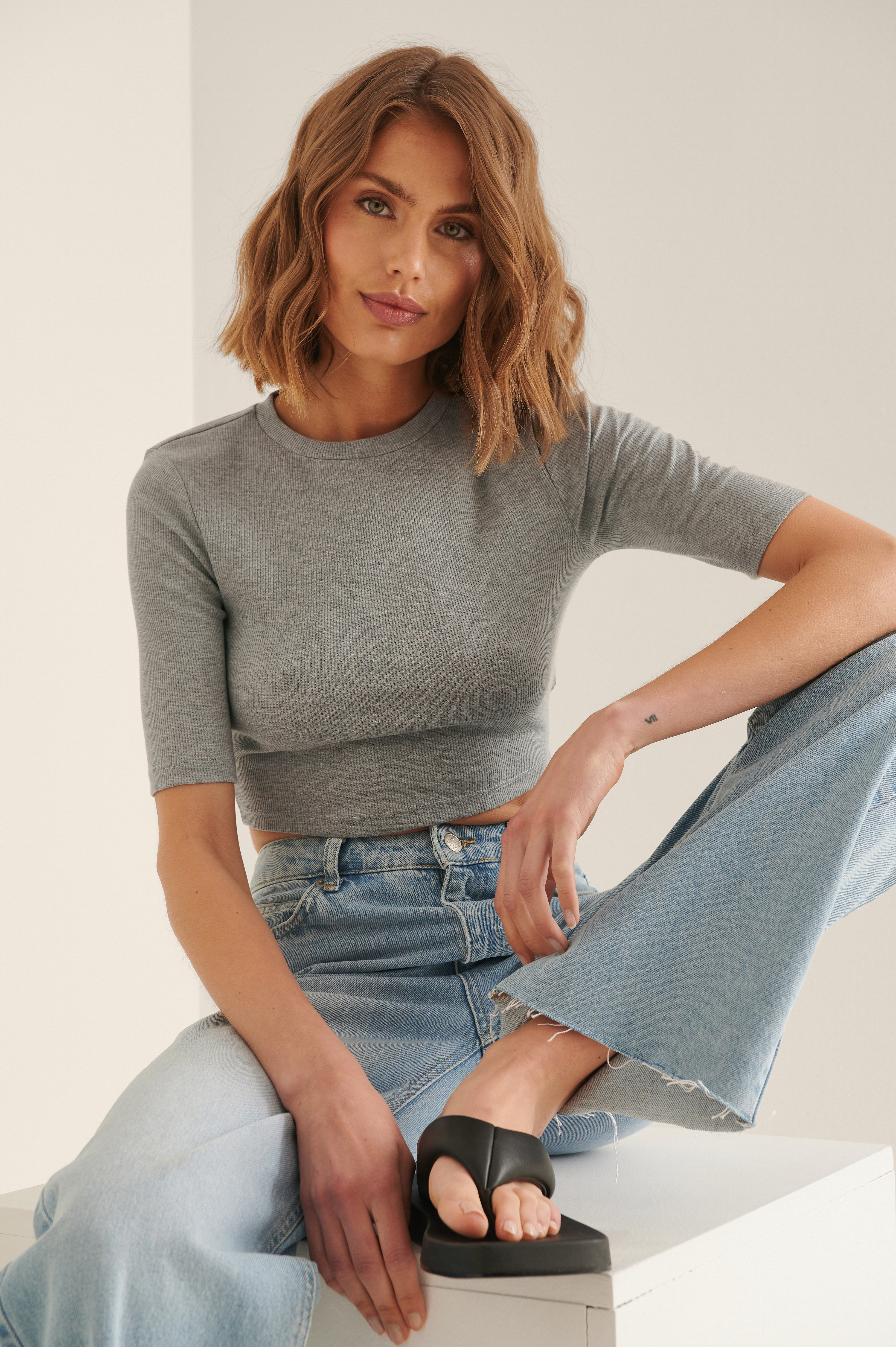 Na-kd Recycled Round Neck Ribbed Crop Top - Grey In Gray