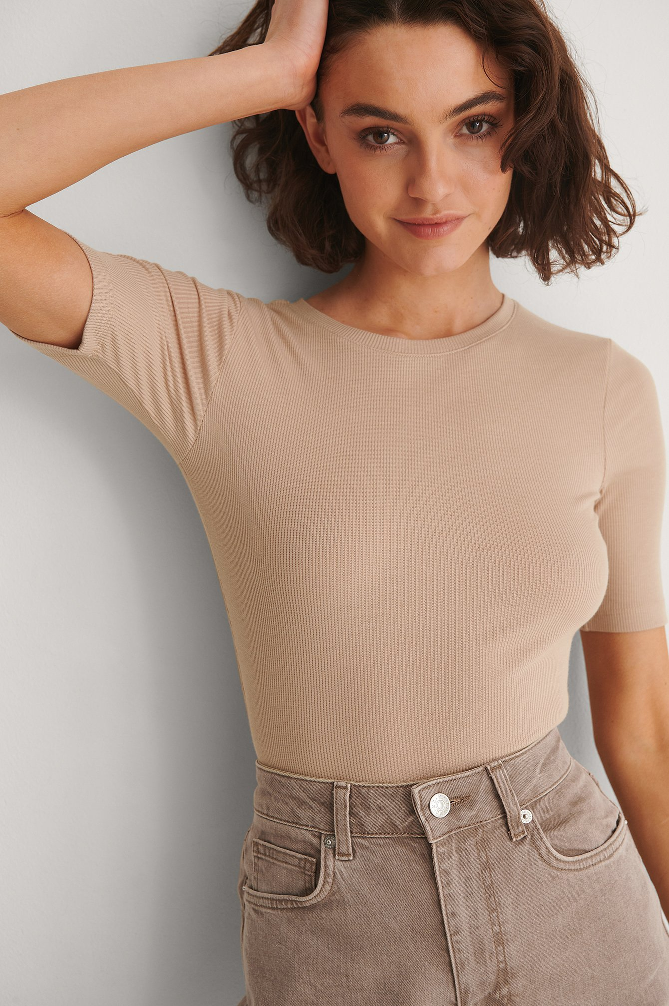 Beige Recycled Round Neck Ribbed Top