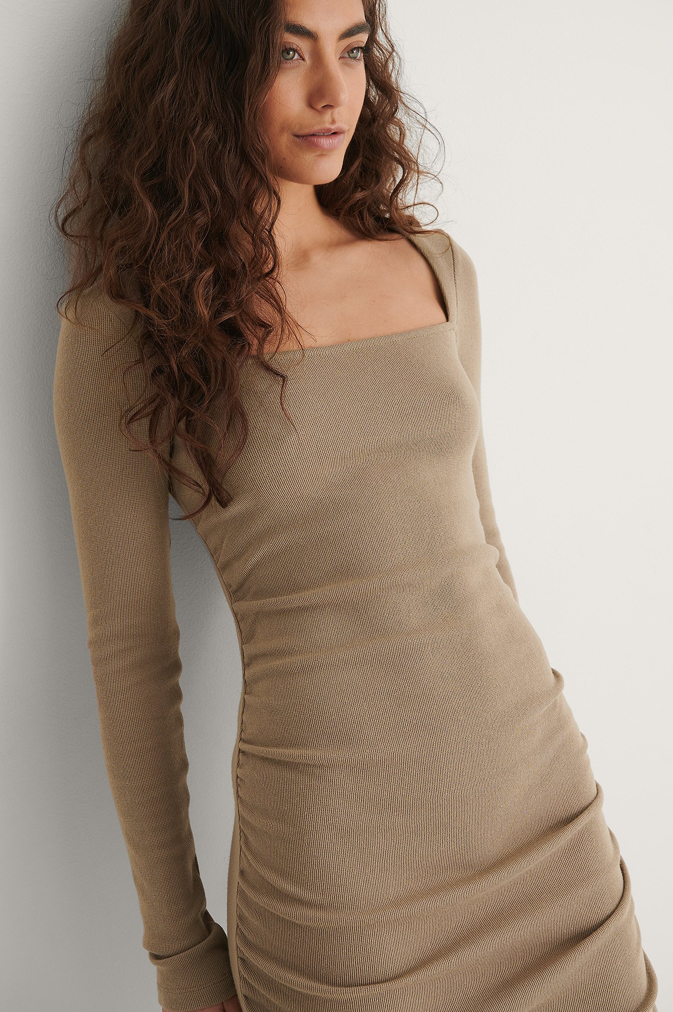 Dark Beige Recycled Square Neck Rouched Dress