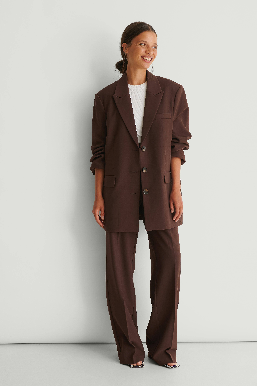 na-kd classic -  Recycelte Zugeschnittene Anzughose - Brown