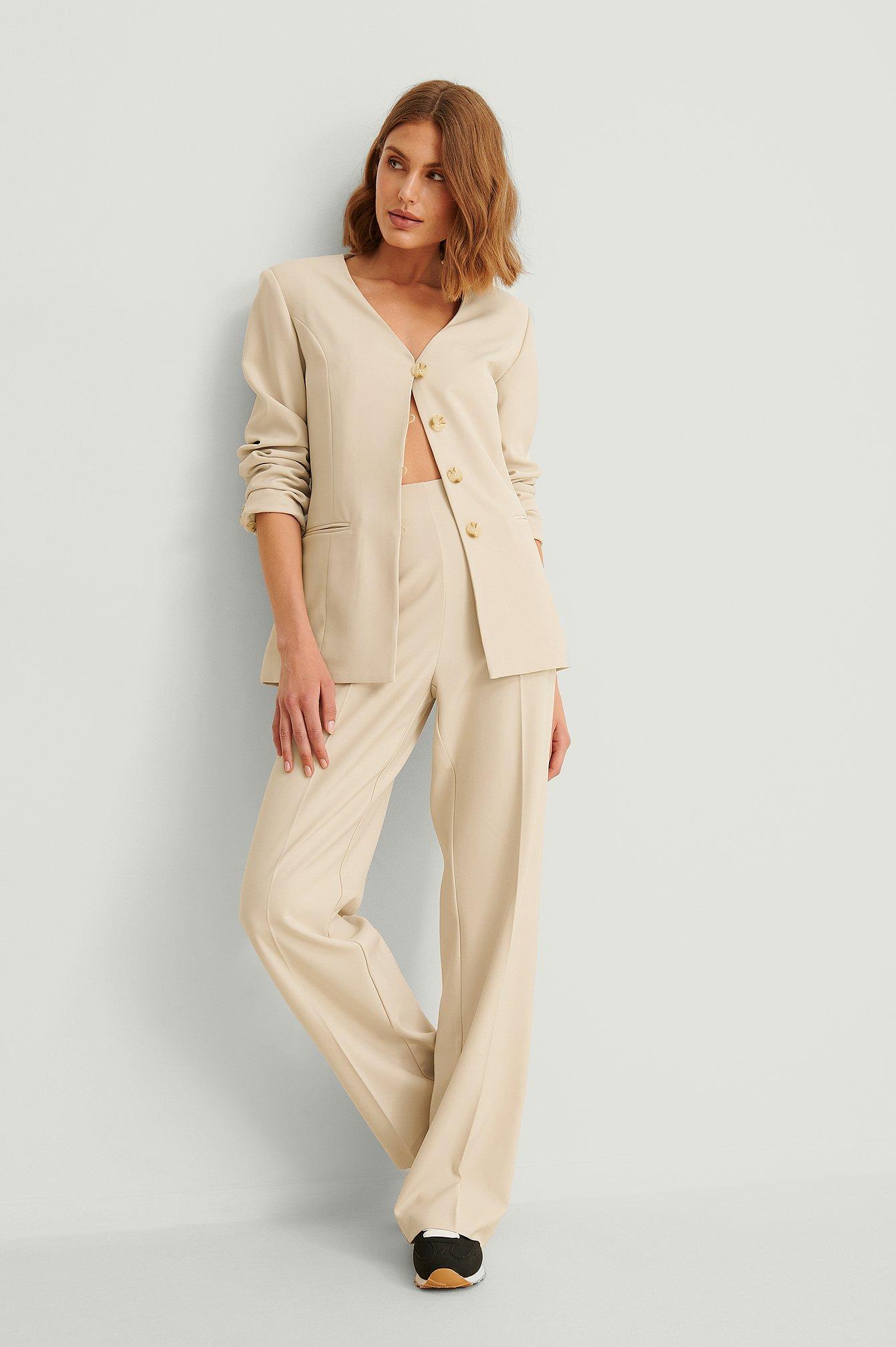 na-kd classic -  Recycelte Zugeschnittene Anzughose - Beige