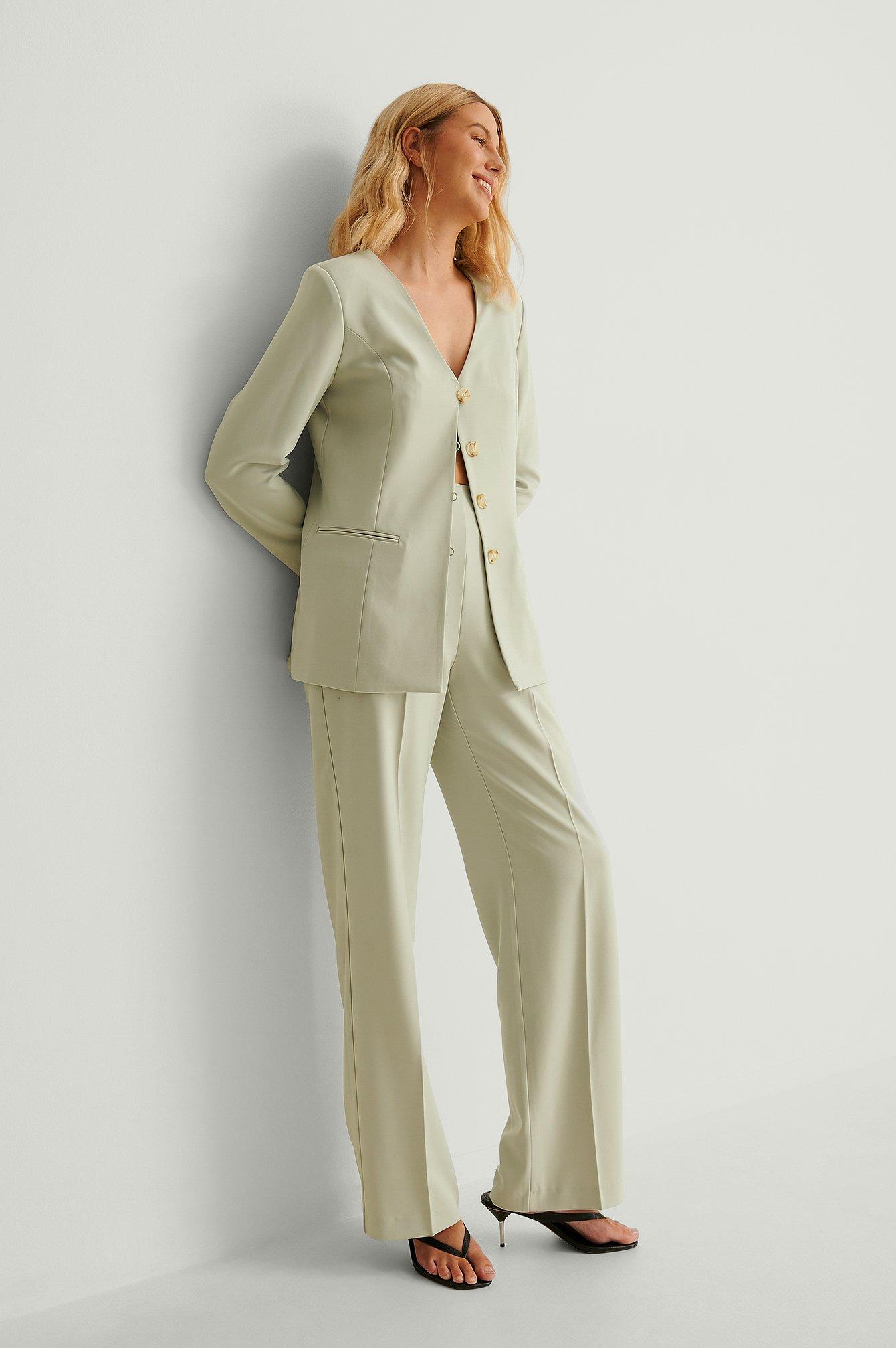 na-kd classic -  Recycelte Zugeschnittene Anzughose - Green