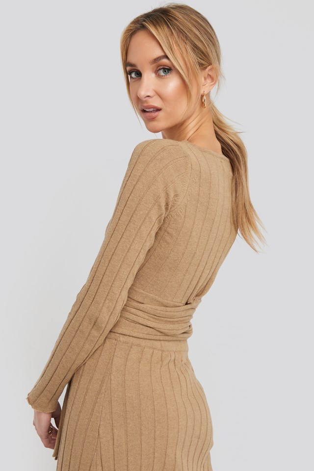 Recycled Tie Waist Cropped Ribbed Sweater Brown