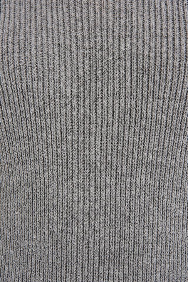 Recycled Turtle Neck Split Hem Sweater Dress Grey Marl