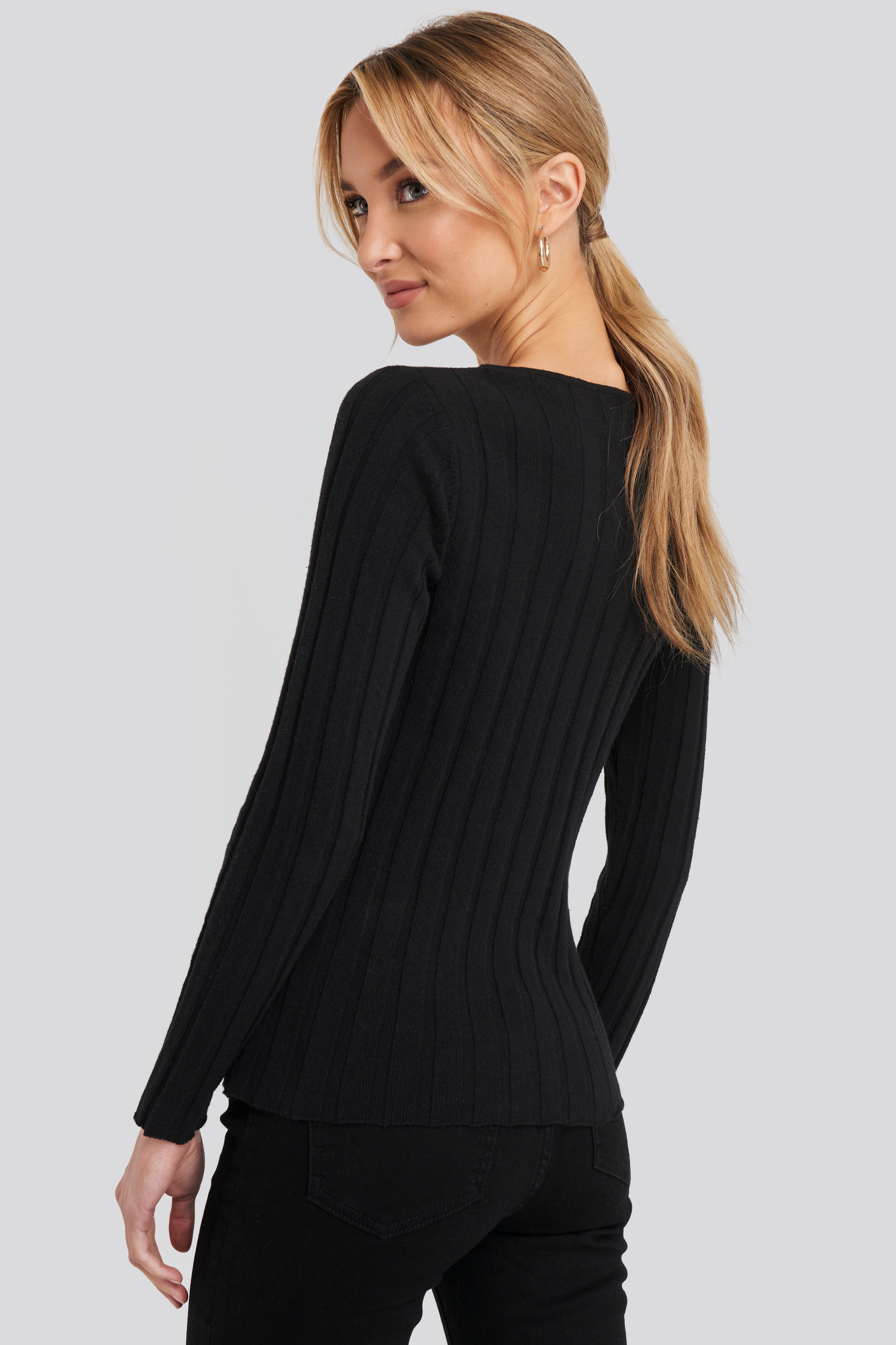 Black Recycled V- Shape Boat Neck Ribbed Sweater