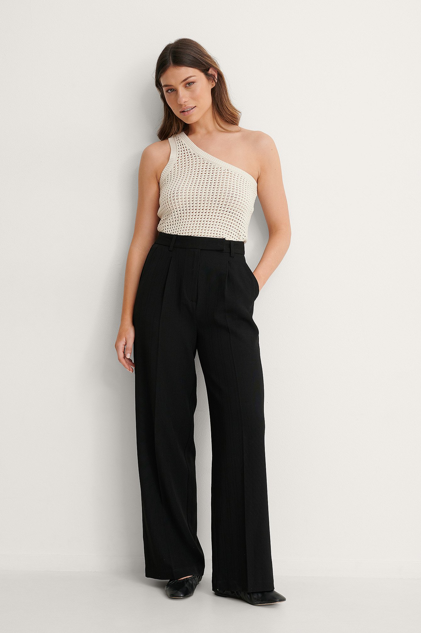 Black Recycled Wide Leg Pants