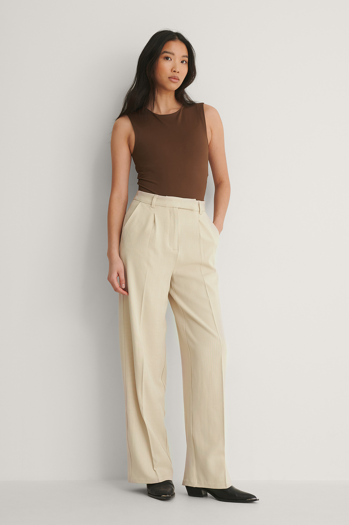Warm Beige Recycled Wide Leg Pants
