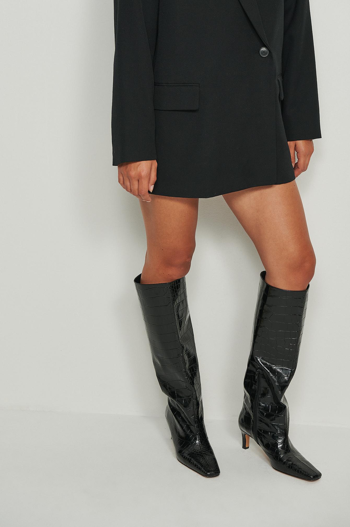 NA-KD Shoes Støvler I Genanvendt Materiale Med Vide Skafter - Black