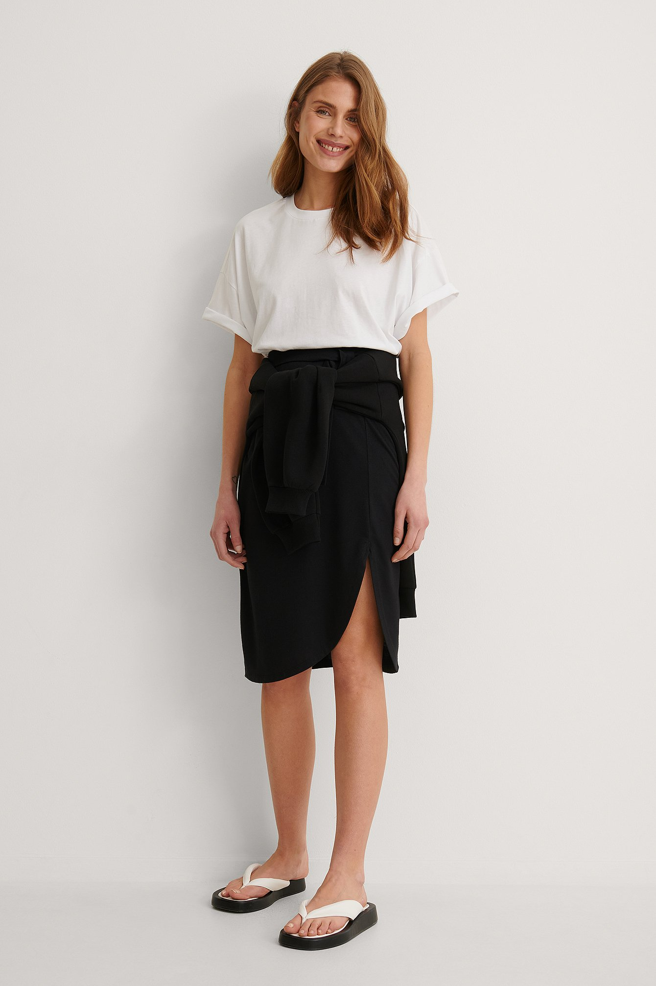 Black Recycled Wrap Detail Skirt