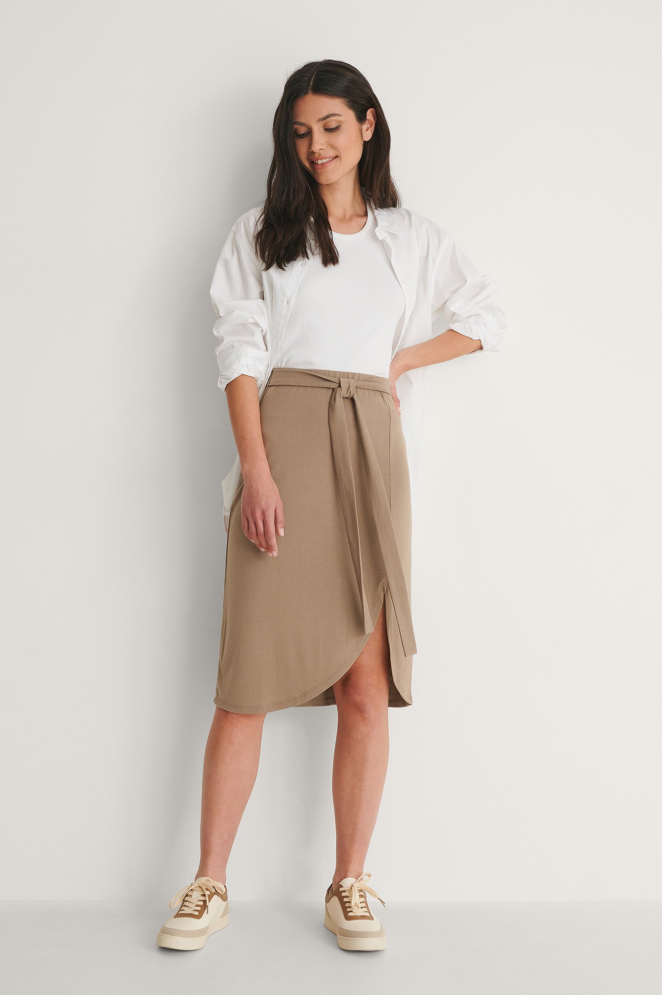 Beige Recycled Wrap Detail Skirt