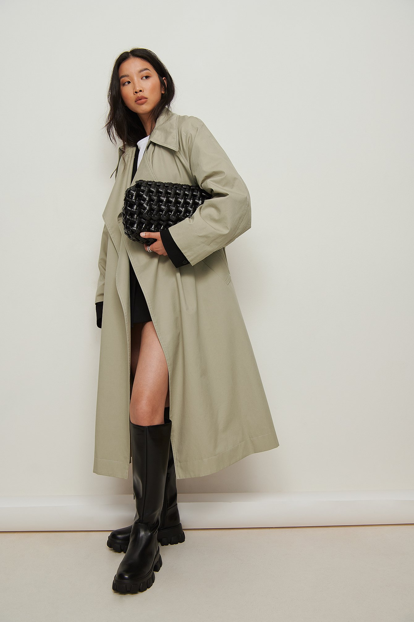 na-kd shoes -  Recycelte Schaft-Stiefel Mit Profil-Sohle - Black
