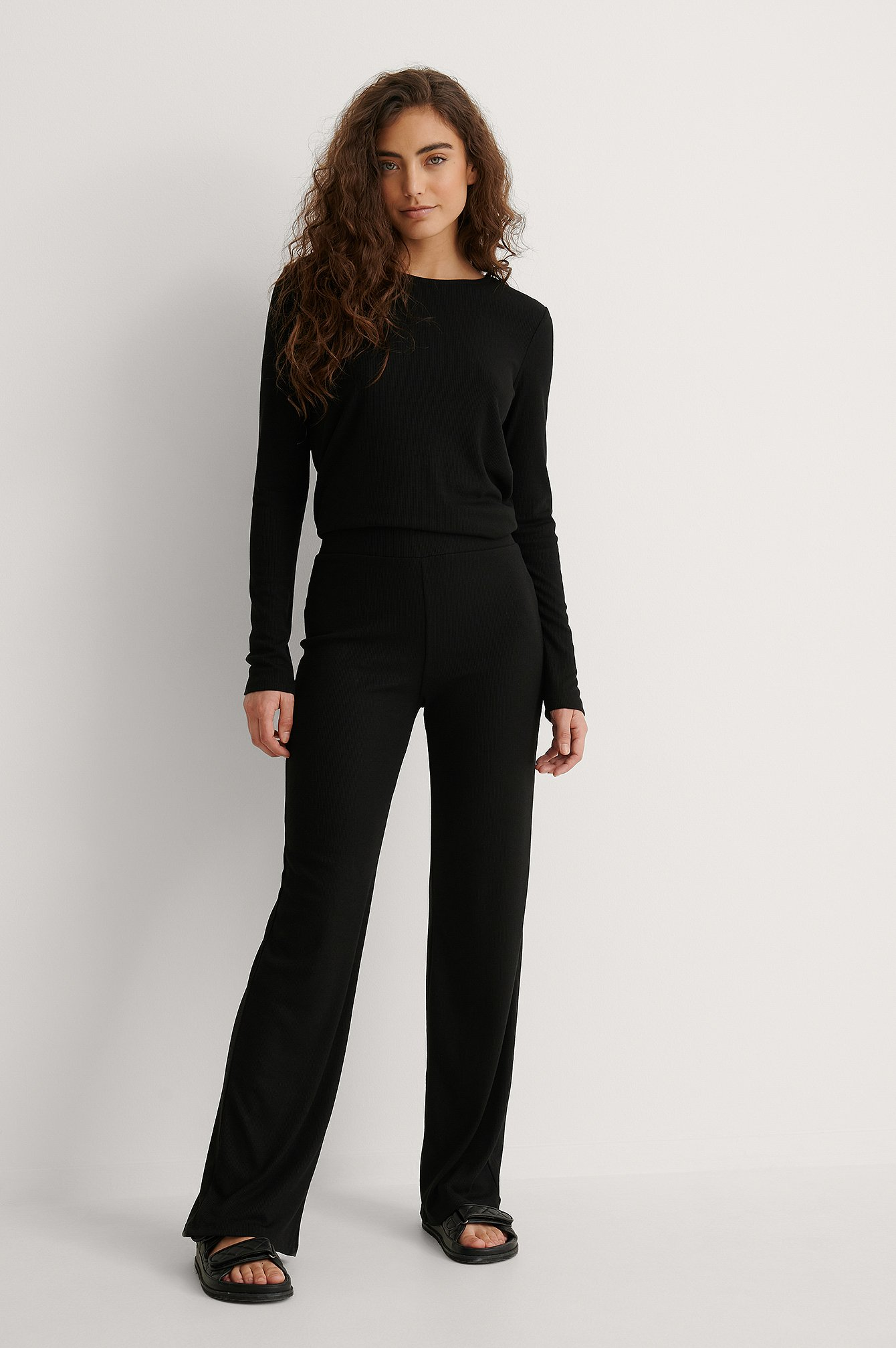 Black Recycled Soft Ribbed Wide Pants