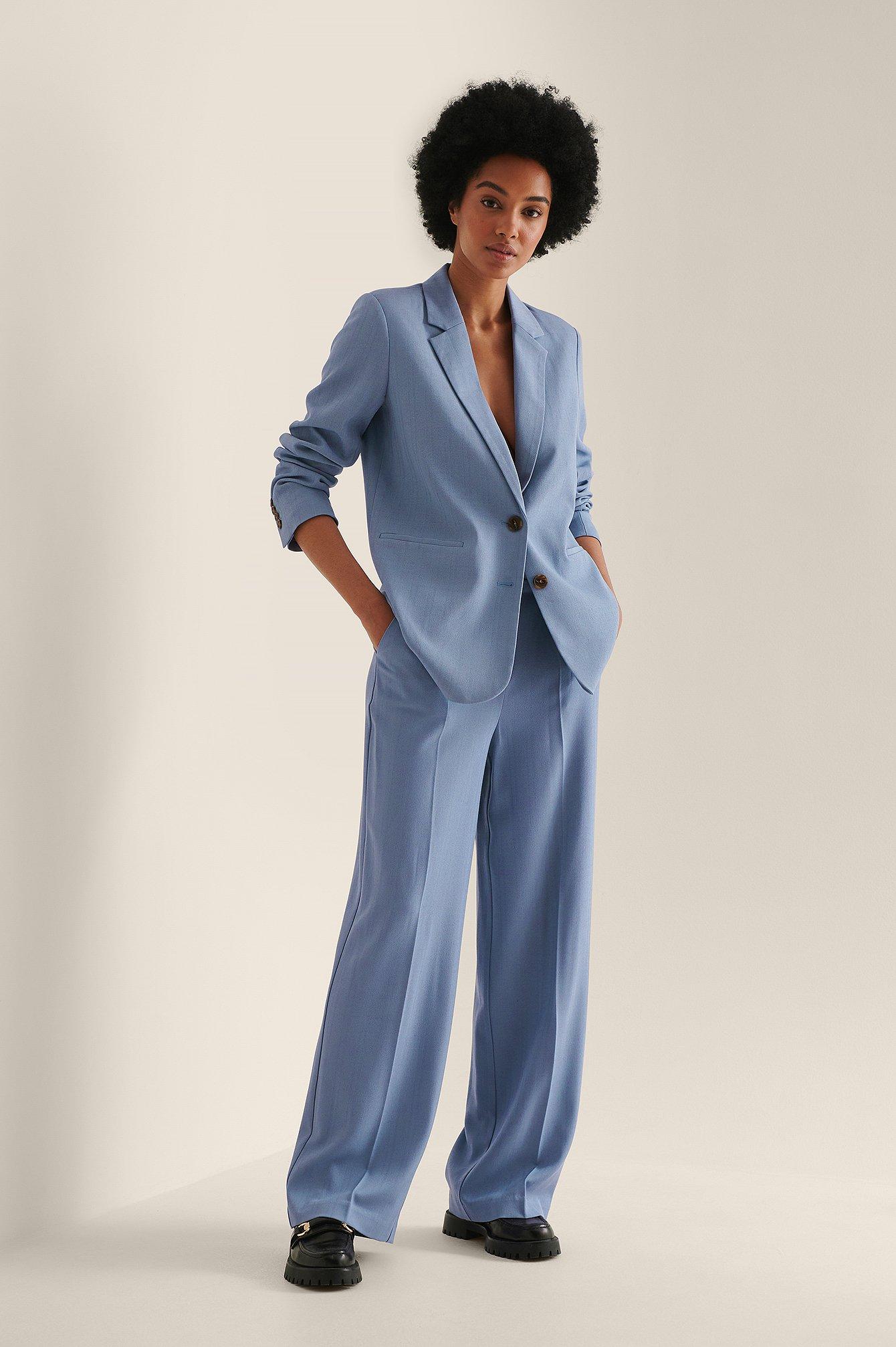NA-KD Classic Genanvendte Bukser Med Vide Ben - Blue