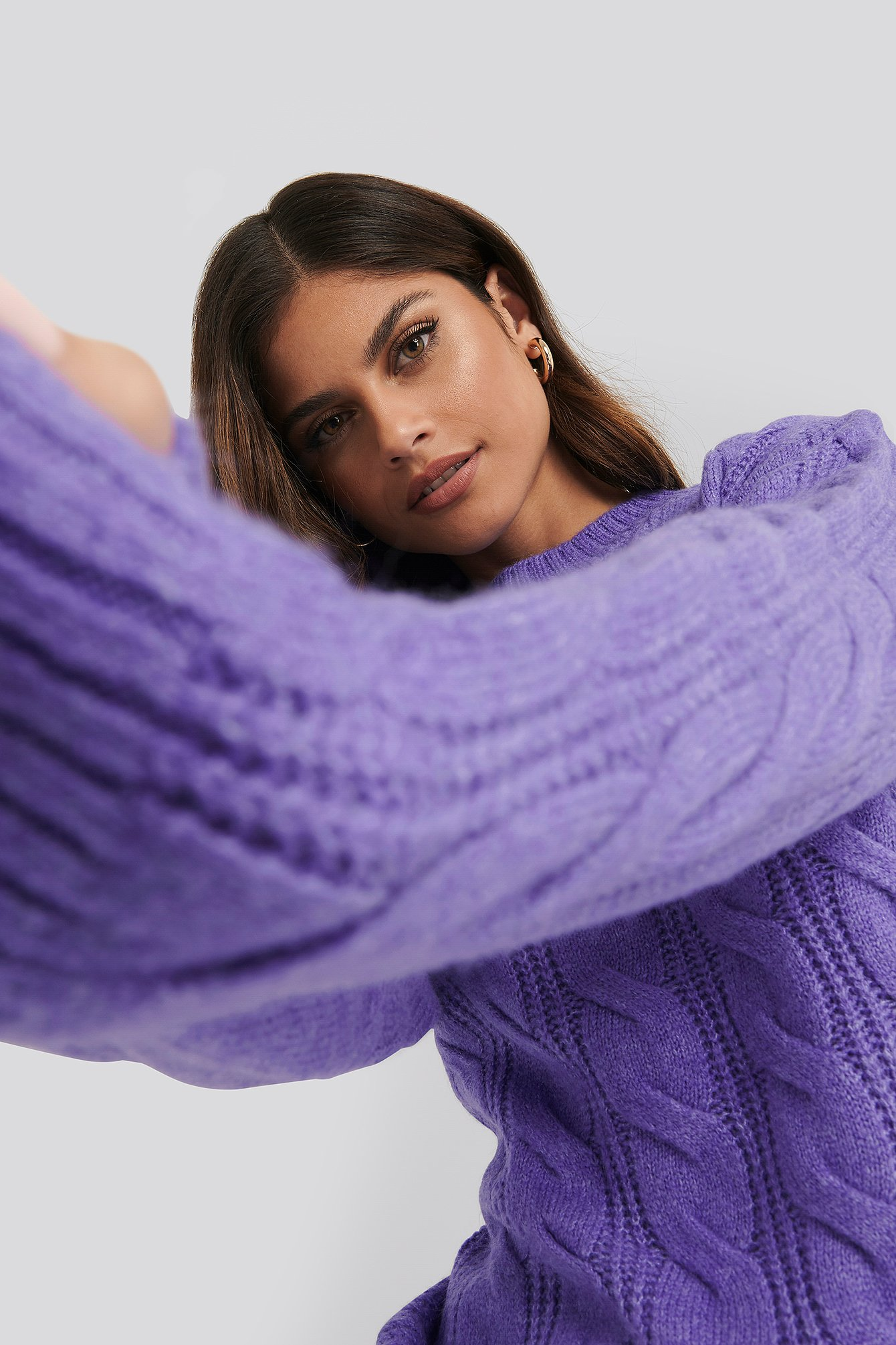 Purple Regular Cable Knitted Sweater