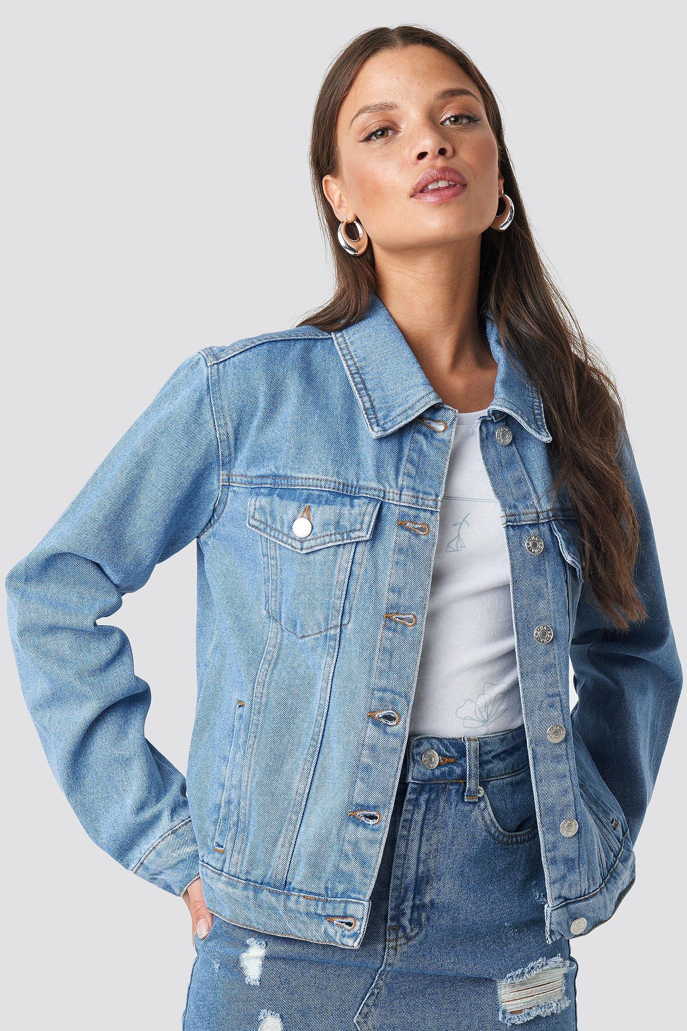 NA-KD Regular Fit Denim Jacket - Blue