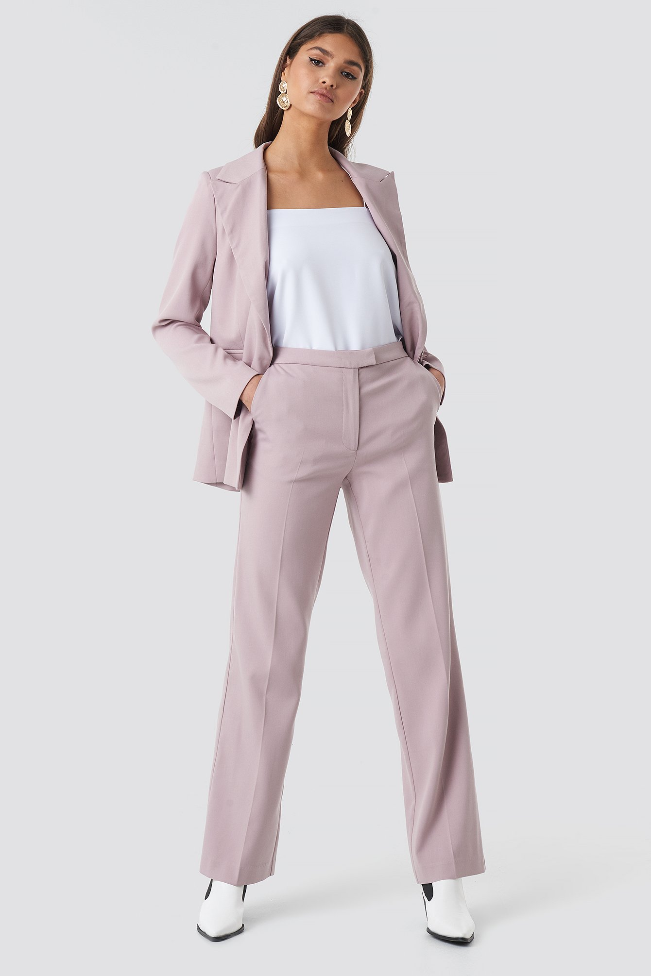 na-kd classic -  Regular Straight Suit Pants - Pink