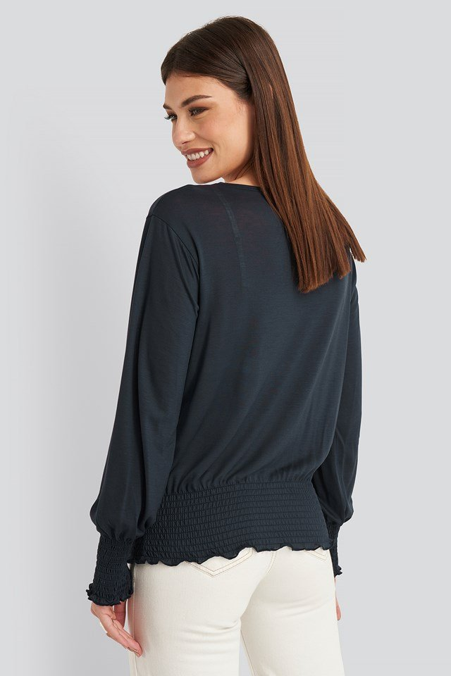 Relaxed Fit Ribbed Hem Jersey Top Dark Blue