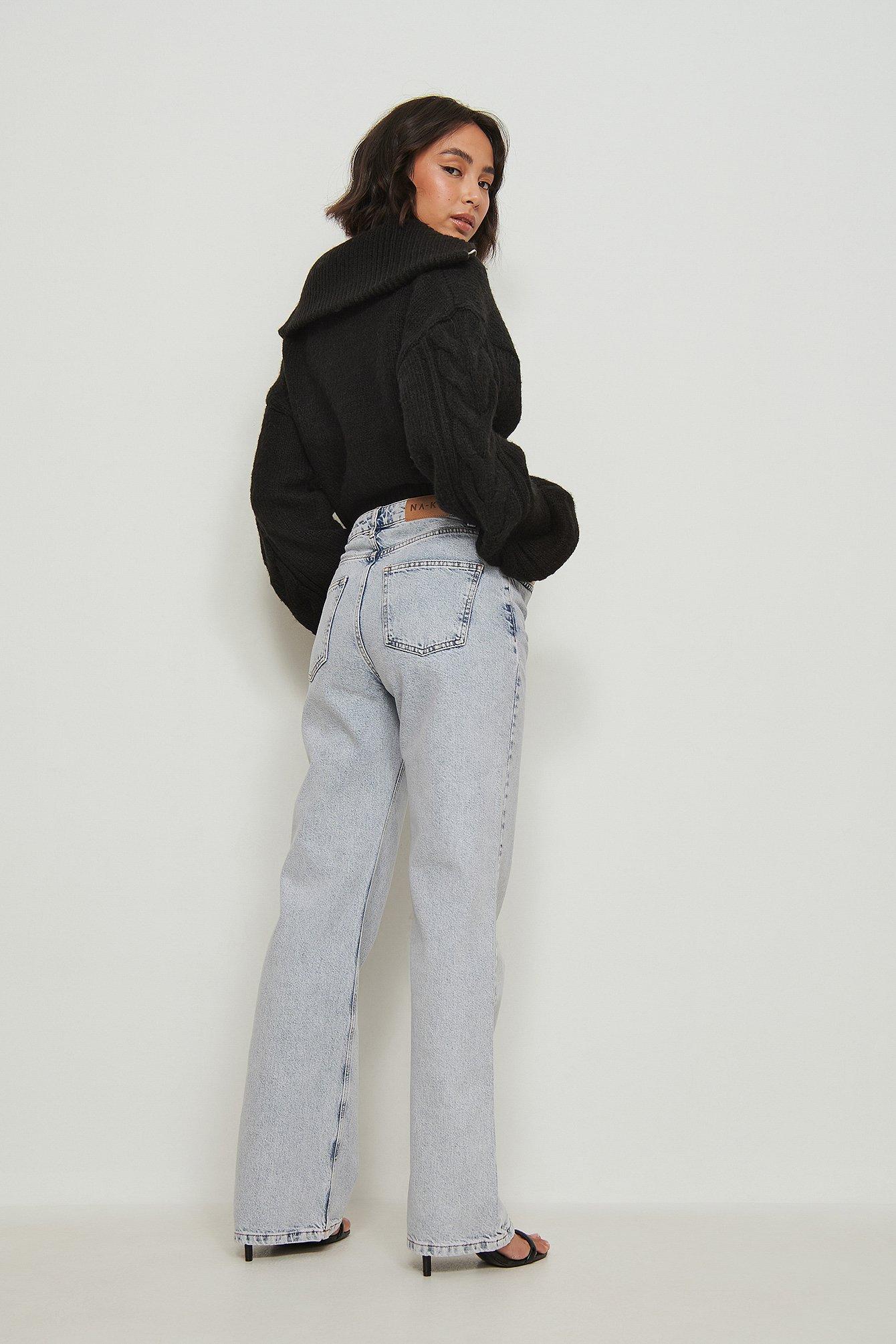 NA-KD Trend Økologiske Afslappede Jeans Fuld Længde - Blue