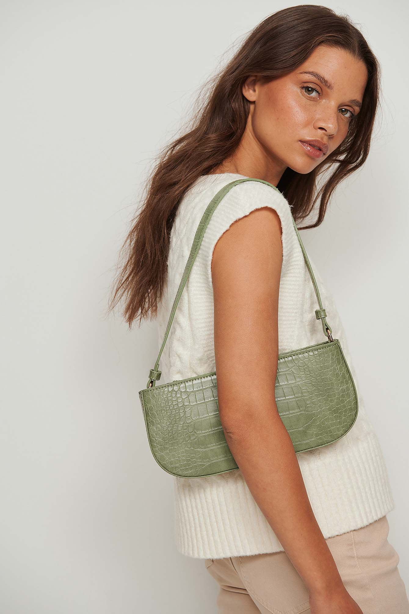 NA-KD Accessories Reptile Baguette Bag - Green