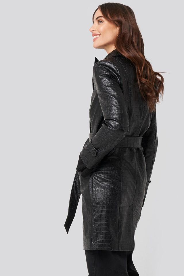 Reptile Marked Shoulder Jacket Black