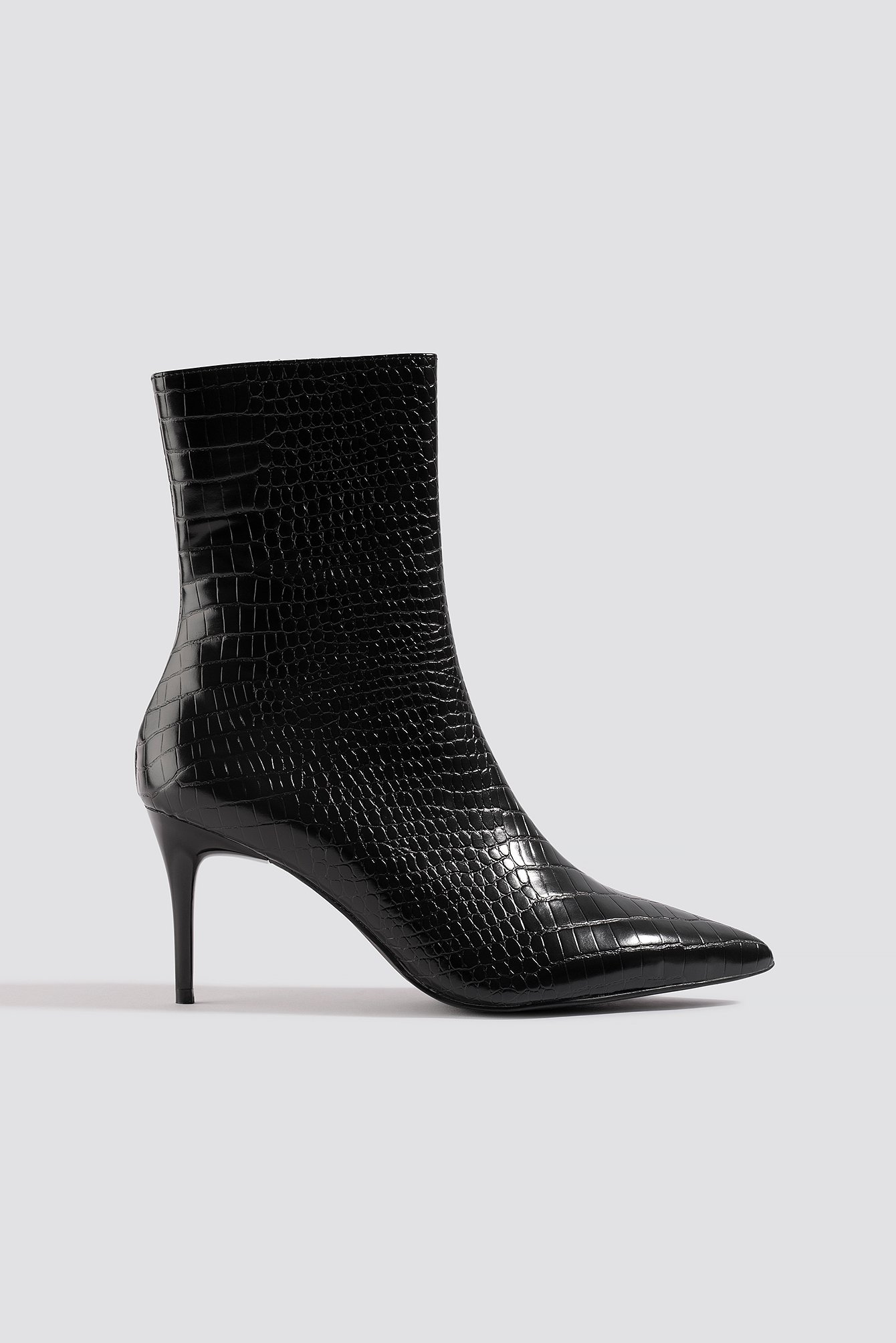 NA-KD Shoes Reptile Pointy Boots - Black | Schuhe > Boots > Sonstige Boots | NA-KD Shoes