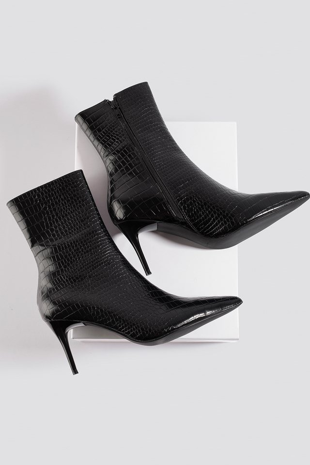 Reptile Pointy Boots Black