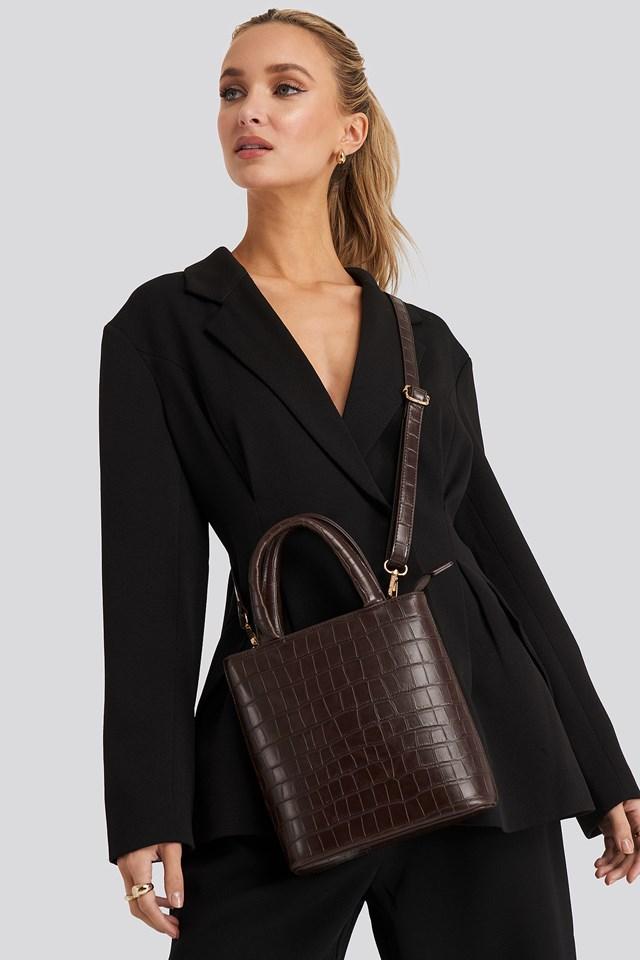 Reptile PU Top Handle Bag Brown