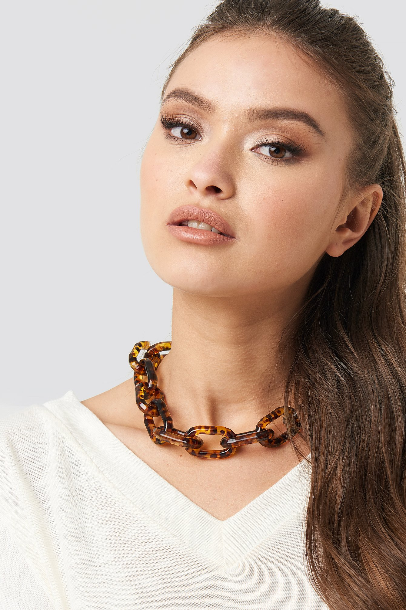 na-kd accessories -  Resin Chain Necklace - Brown