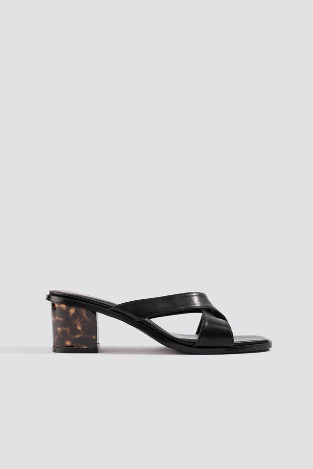 Resin Heel Mules Black