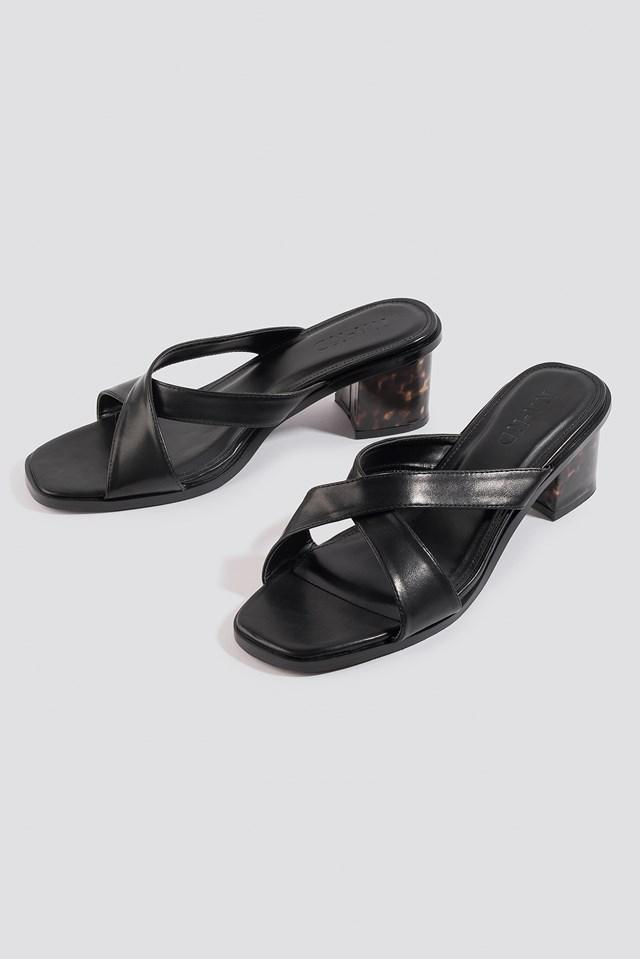 Resin Heel Mules Black