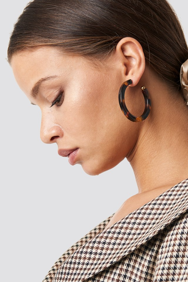 Resin Hoop Earrings Tortoise