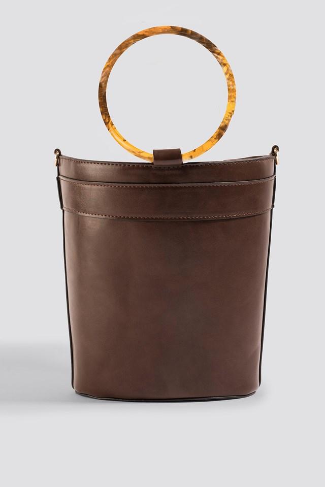 Resin Ring Bucket Bag Dark Brown