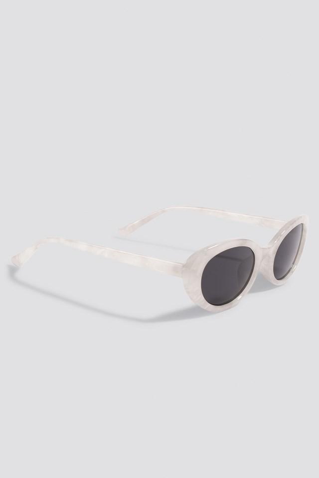 Retro Oval Sunglasses White Smoke