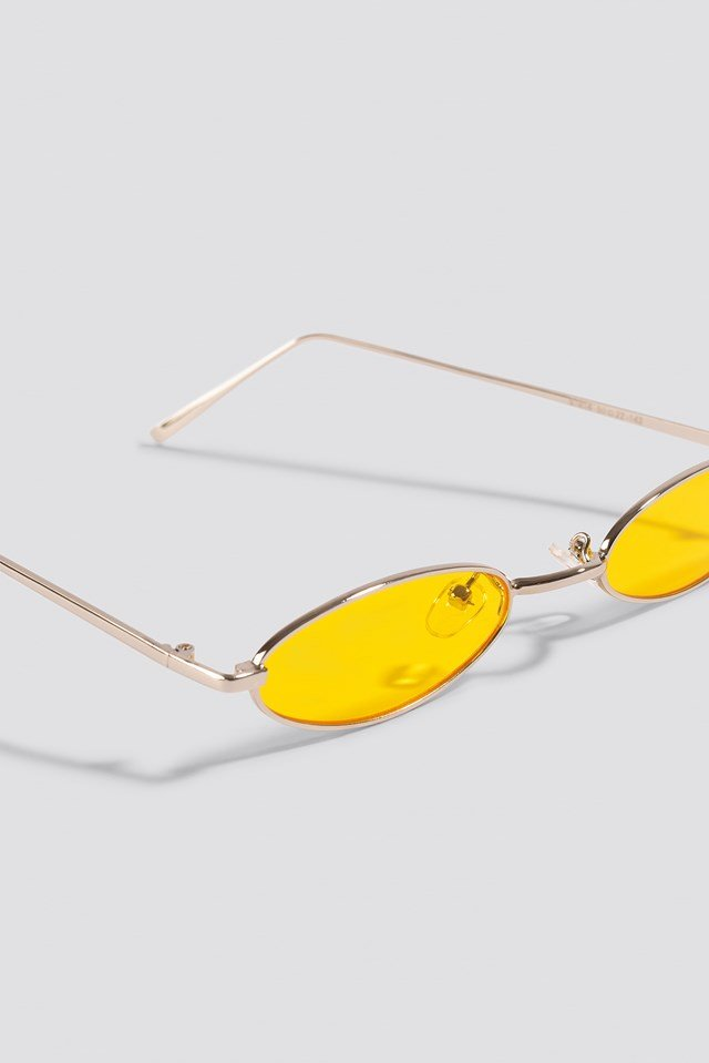 Retro Small Oval Sunglasses Yellow
