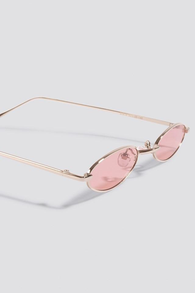 Retro Small Oval Sunglasses Light Pink