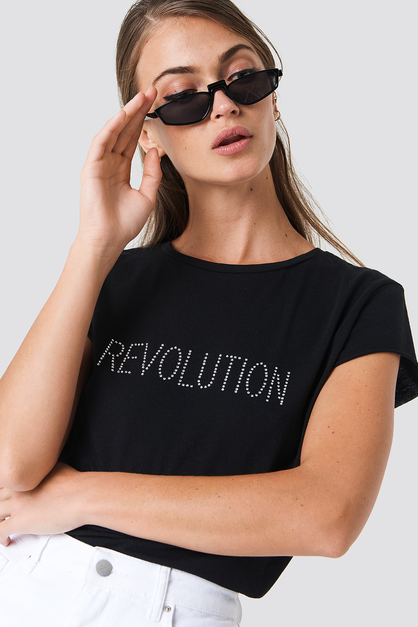 Revolution Glittery Tee NA-KD.COM